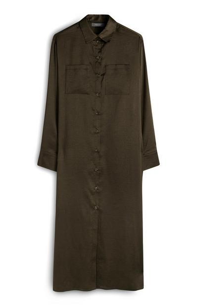 Khaki Satin Midaxi Shirt Dress