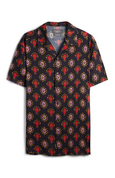 Navy Crown Pattern Button Up Shirt
