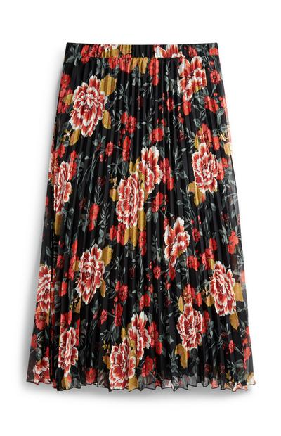 Multi-Coloured Floral Pleated Midi Skirt
