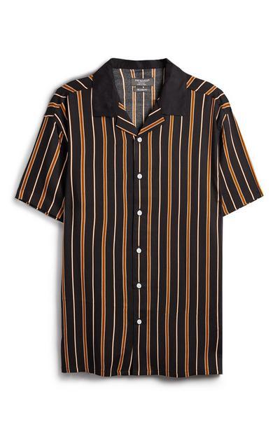 Schwarz-orangefarben gestreiftes Hemd