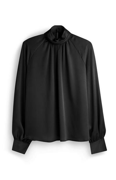 Black Satin Ruched Shirt