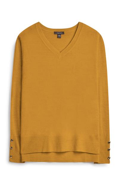 Orange Supersoft V Neck Jumper