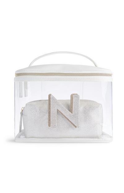 Letter N Clear Make-Up Bag