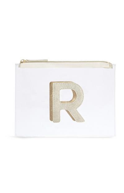 """Transparente Make-up-Tasche mit Initiale """"R"""""""