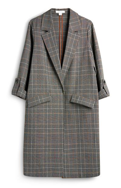 Grey Check Duster Coat
