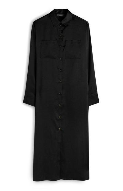 Schwarzes Midaxi-Hemdkleid aus Satin
