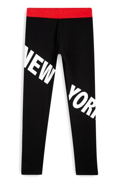 Older Girl Black New York Leggings