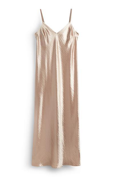 Blush Satin Midi Cami Dress