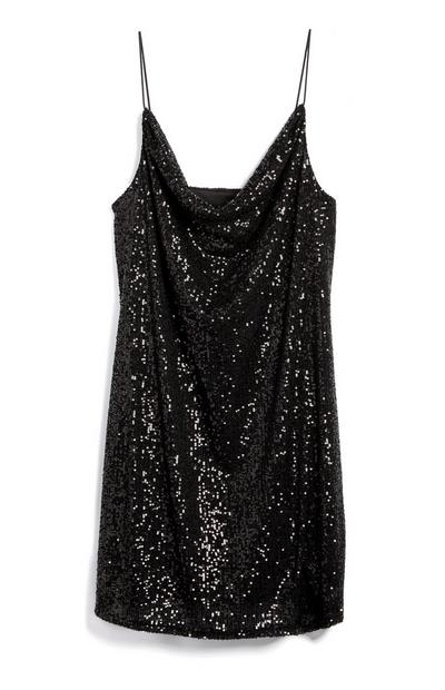 Black Strappy Cowl Neck Sequin Mini Dress