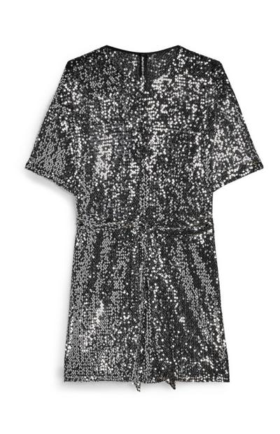 Silver Sequin T-Shirt Dress
