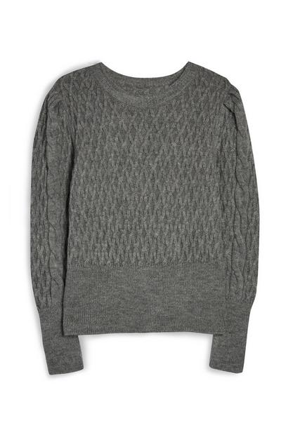 Grey Stitch Crew Jumper
