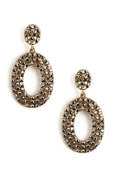 Oval Diamante Hoop Stud Earrings