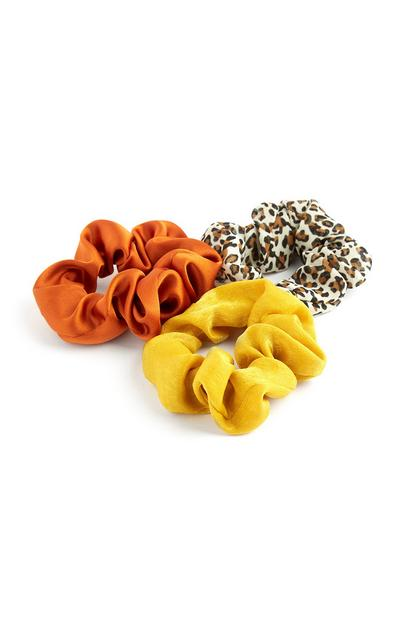 Orange Yellow And Leopard Print Mini Scrunchies 3Pk