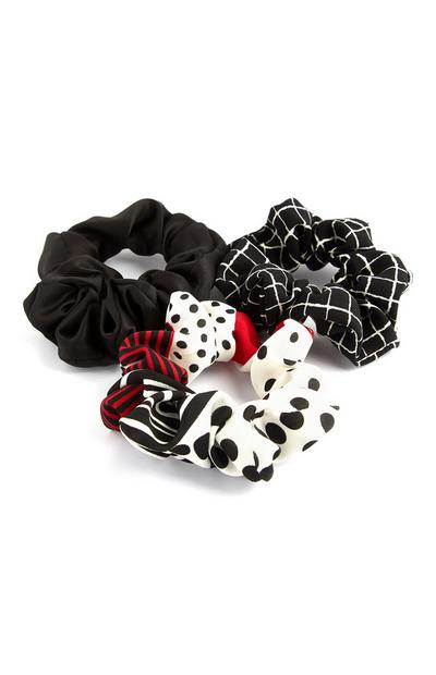 Black Red And White Mini Scrunchies 3Pk