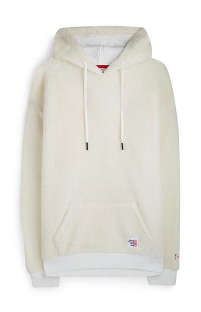 Cream Fleece RED Logo Hoodie