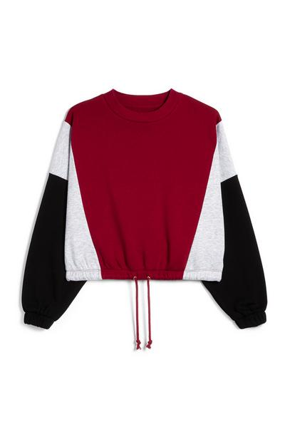 Red Grey And Black Colourblock Drawstring Hem Sweatshirt