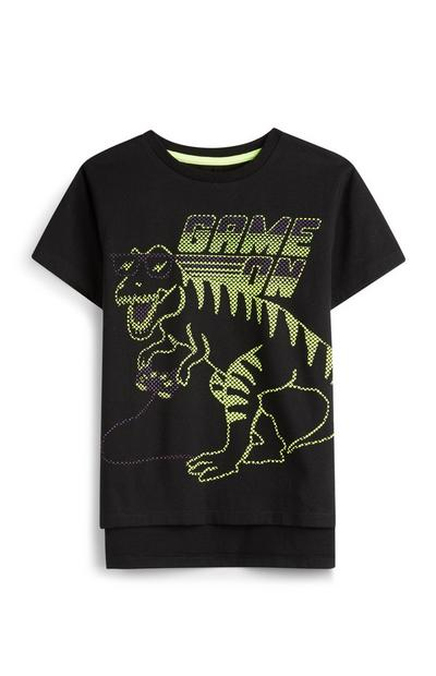 Younger Boy Neon Green Dinosaur Game On T-Shirt