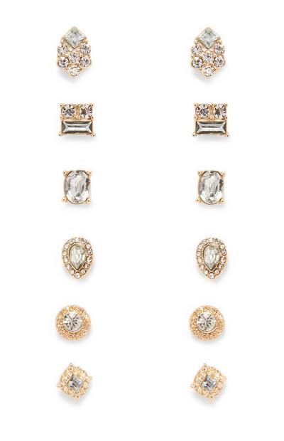 Diamante And Gems Stud Earrings 6Pk
