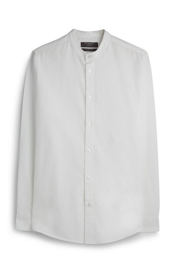White Oxford Grandad Collar Shirt
