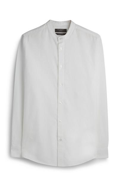 White Oxford Grandad Collar Shirt