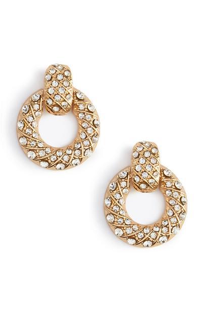 Circle Diamante Hoop Stud Earrings