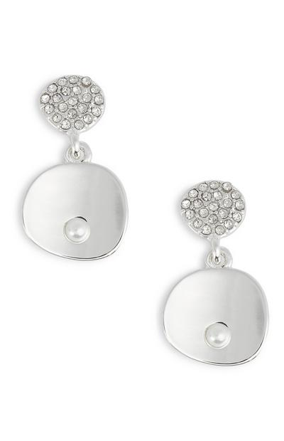 Diamante And Pearl Drop Earrings