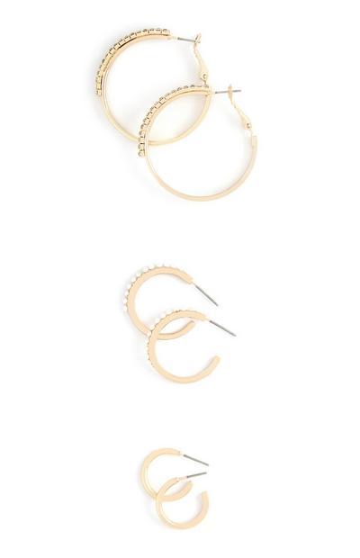 Yellow Mixed Sizes Hoop Earrings 3Pk