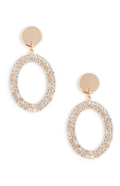 Oval Diamante Drop Earrings