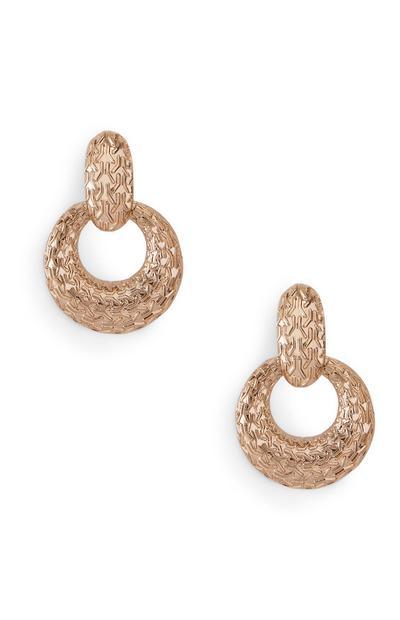 Engraved Knocker Drop Earrings