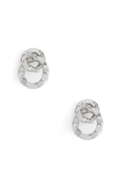 Looped White Circle Stud Earrings