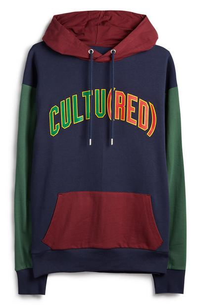 Burgundy Navy And Green Colour Block Cultured RED Hoodie