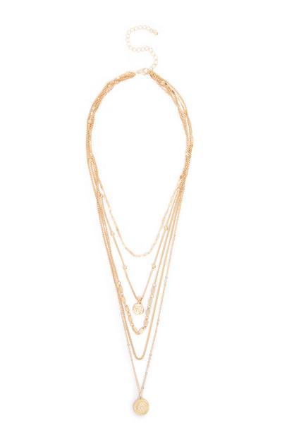 Yellow Multi Layer Chain Pendant Necklace