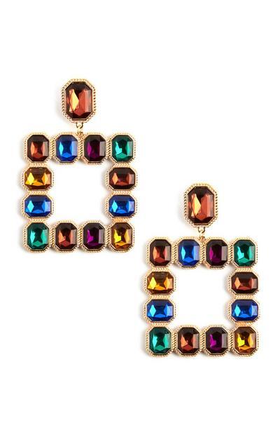 Multi-Coloured Square Gem Earrings