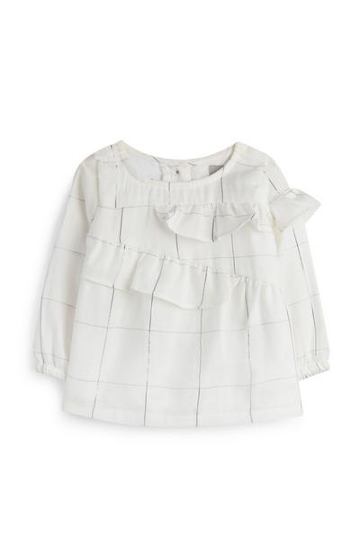 Baby Girl Check Frill Blouse