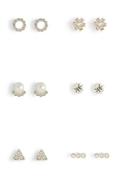 White Diamante And Gem Stud Earrings 6Pk
