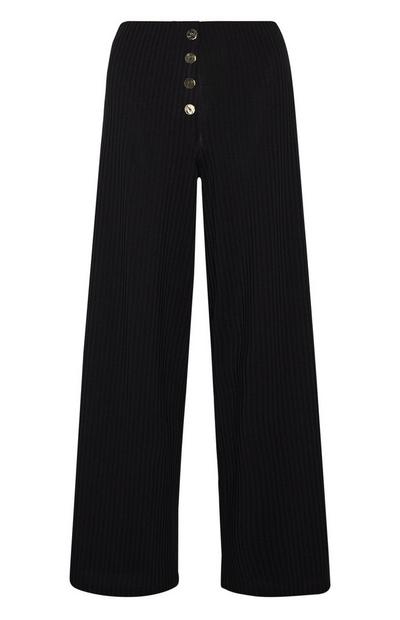 Black Ribbed Wide Leg Front Button Trousers