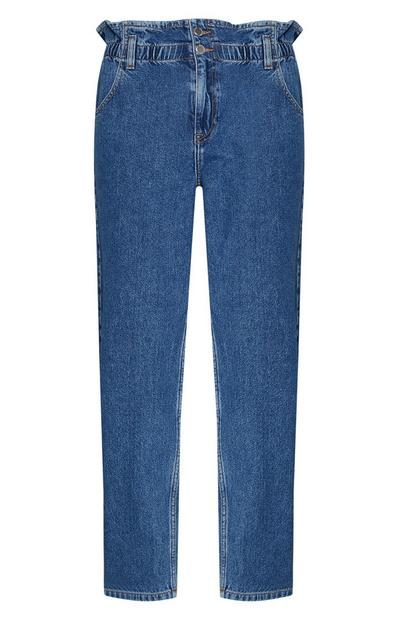 Blue Paperbag Waist Mom Jean