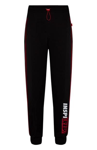 Black Inspired RED Logo Joggers