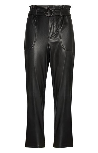 Black Paperbag PU Trousers