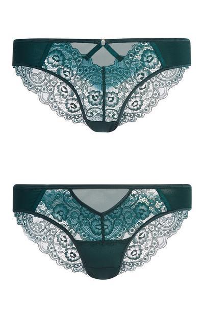 Green Brazilian Lace Trim Briefs 2Pk
