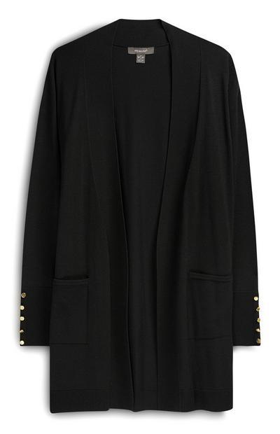 Black Formal Cardigan With Pockets