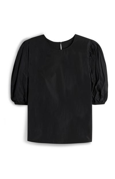 Black Puff Sleeve Taffeta Top