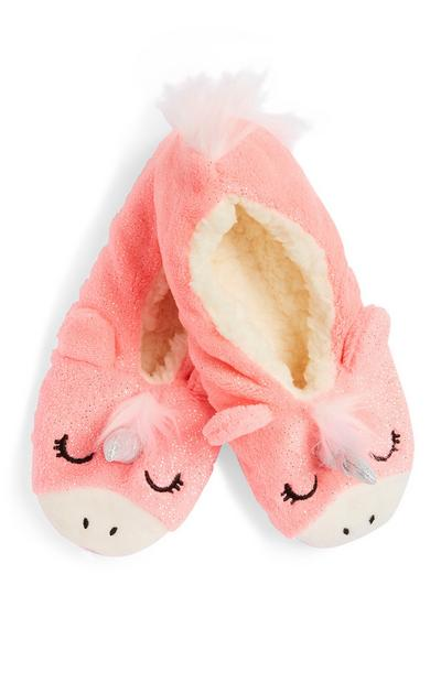 Pink Unicorn Slipper Socks