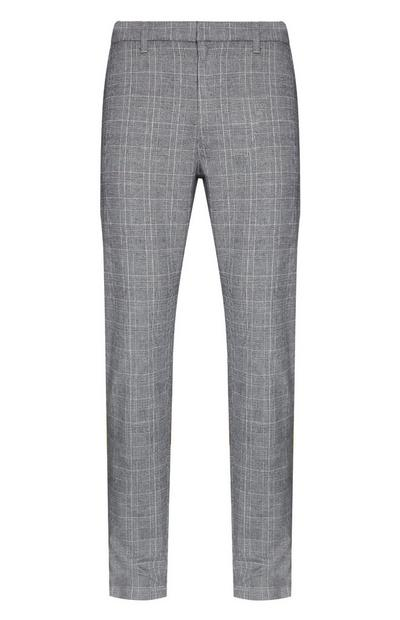 Grey Slim Leg Check Trousers