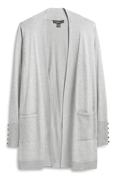 Grey Formal Cardigan With Pockets