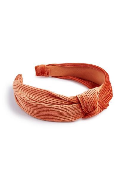 Orange Velvet Knot Headband