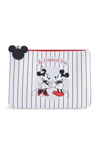 White Mickey And Minnie Pouch