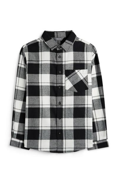 Younger Boy Black And White Check Shirt