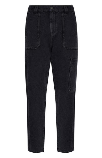 Black Denim Cargo Pant