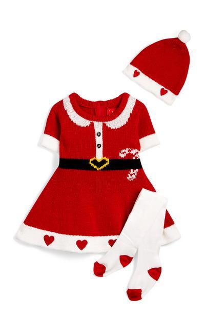 Baby Girls Knit Christmas Dress Set